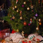 Christmas tree decorated close-up