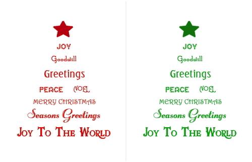 Christmas Tree Words Wall Art