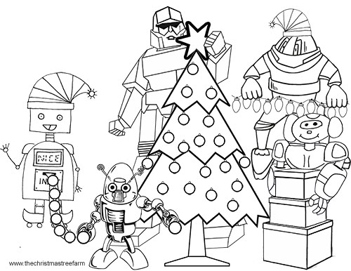 robot christmas coloring pages