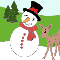 Snowman Coloring In small